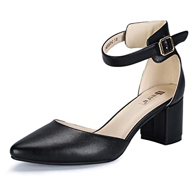 441727d0debc1 IDIFU Women's IN2 Pedazo-C Mid Chunky Heels Closed Pointed Toe Ankle Strap  D'Orsay Pumps Low Block Heel Comfortable Dress Sandals Shoes