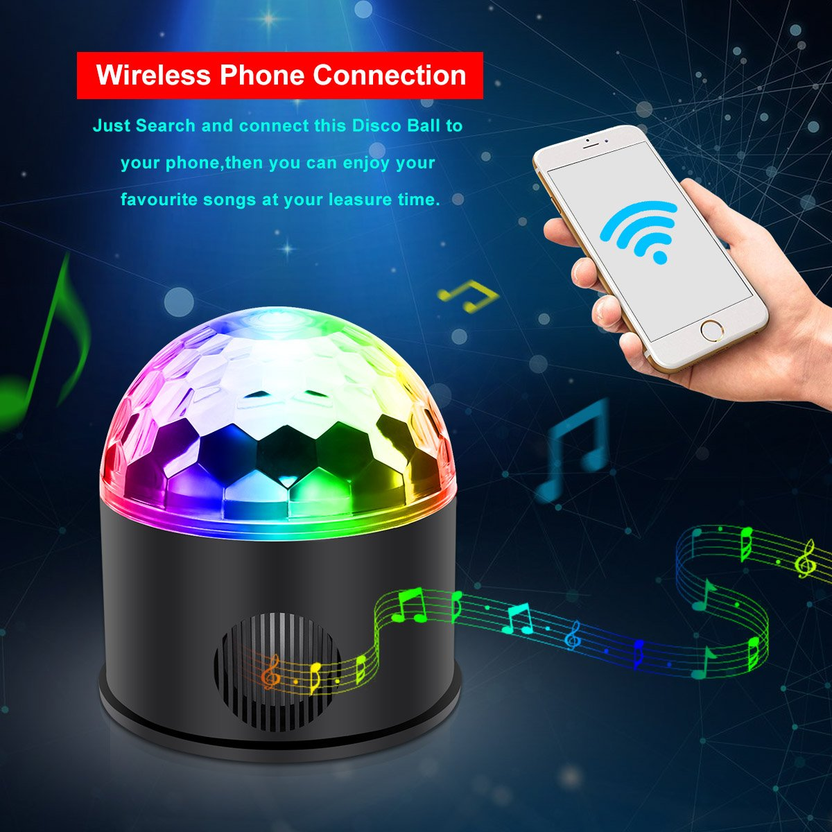 KINGSO Discokugel 9 Farbe Mini Bluetooth Musik LED Party Licht Bunte ...