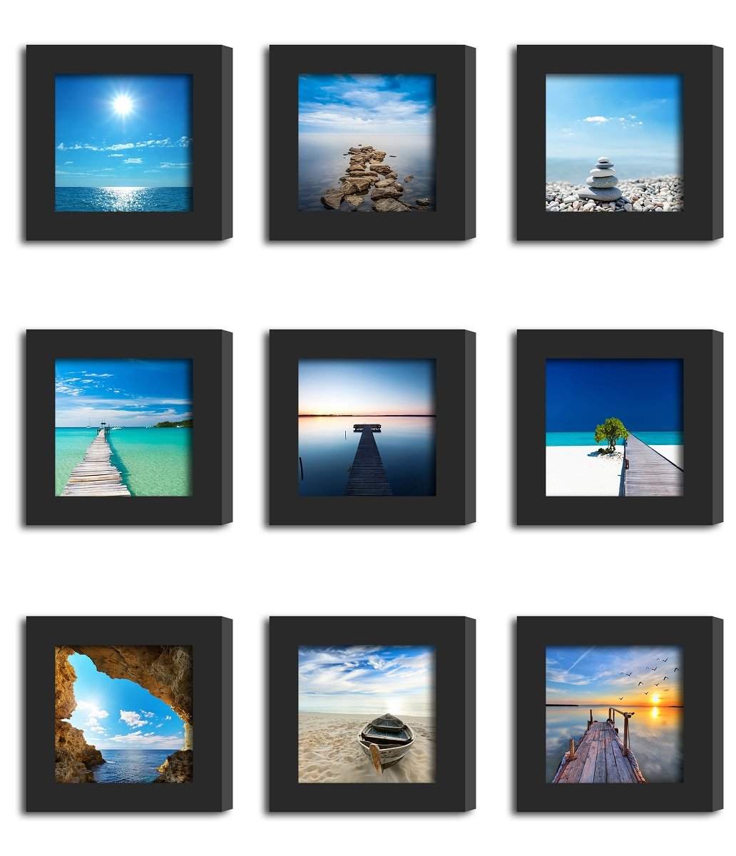 9Pcs 4x4 Real Glass Wood Frame Black Fit Family Image Pictures Photo (Window 3.6 x 3.6 inch) Desktop Stand or Wall Hang Family Combine Square Blue Beach Jetty Pier Landscape Decoration (1-9)