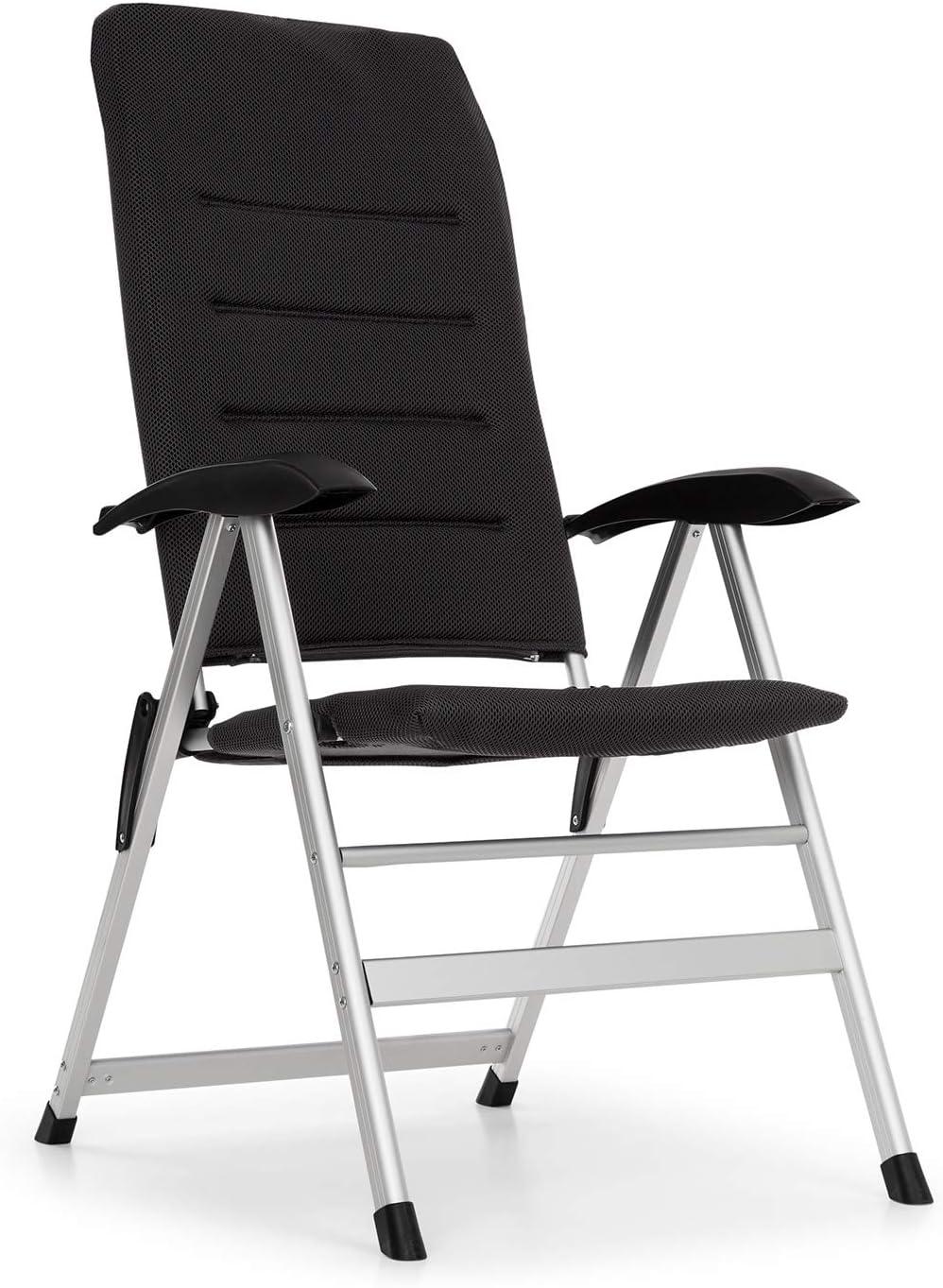 Blumfeldt Almagro Garden Chair Silla para Exteriores - Respaldo Regulable a 6 Alturas, Gomaespuma con 2 cm de Acolchado, Patas Hechas enteramente de Aluminio, Plegable, Negro