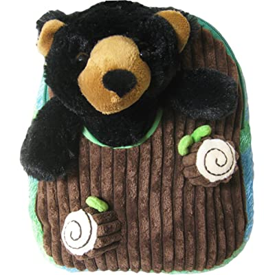 Kreative Kids Adorable Black Bear Plush Backpack with Removable Stuffed Animal on sale