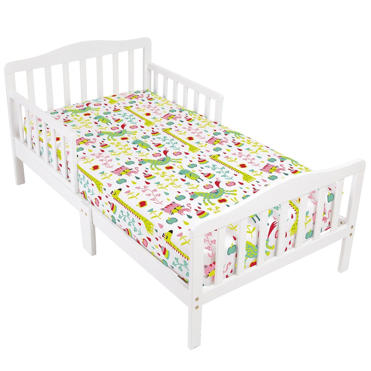 Mellanni Toddler 2 Fitted Sheets Animal-Print and Pink - Fits Baby Crib Too - Super Soft Kids Bedding (Animal Print and Pink)