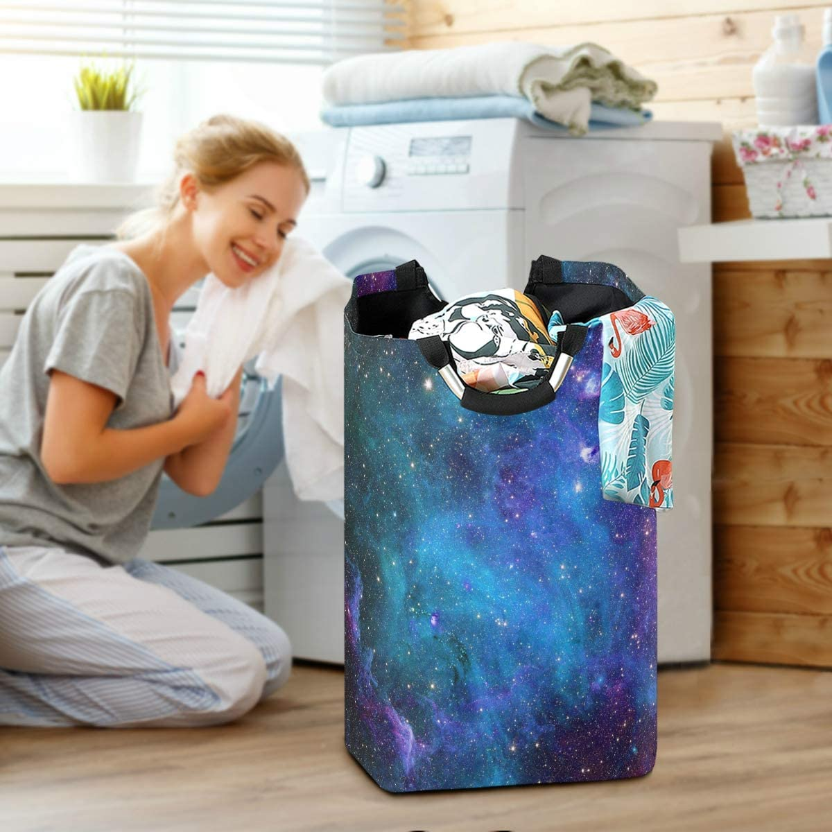 OREZI Blue Purple Galaxy Stars Laundry Hamper,Waterproof and Foldable Laundry Bag with Handles for Baby Nursery College Dorms Kids Bedroom Bathroom