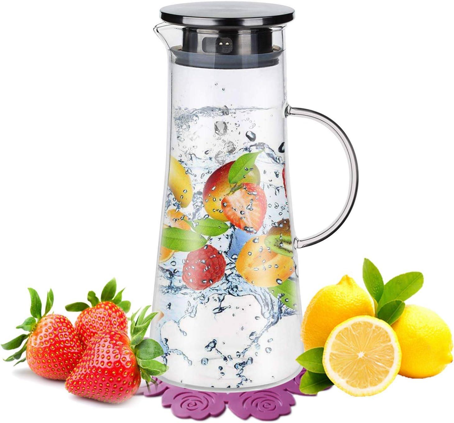 Jarras de Cristal,BOQO Jarras Para Agua,Botella de cristal y tapa acero inoxidable,Jarra Agua 1500ml Jarras de Vidrio
