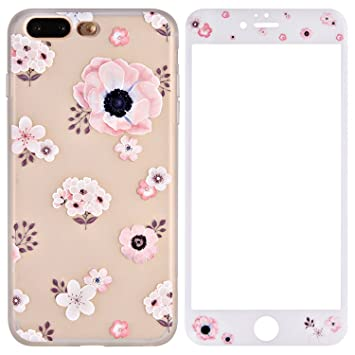 Funda iPhone 7 Plus Silicona, Funda iPhone 8 Plus Protector Pantalla, ZXK CO TPU Carcasa de Silicona Gel Suave Cover Case con Patrón de Flores Ultra ...