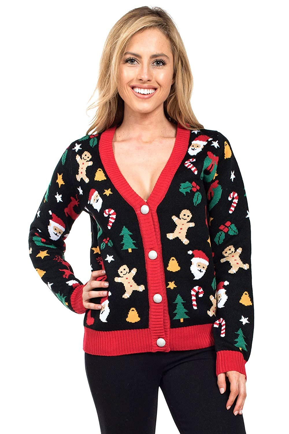 Tipsy Elves Women's Cookie Cutter Ugly Christmas Sweater  Cute Christmas Cardigan Female Black