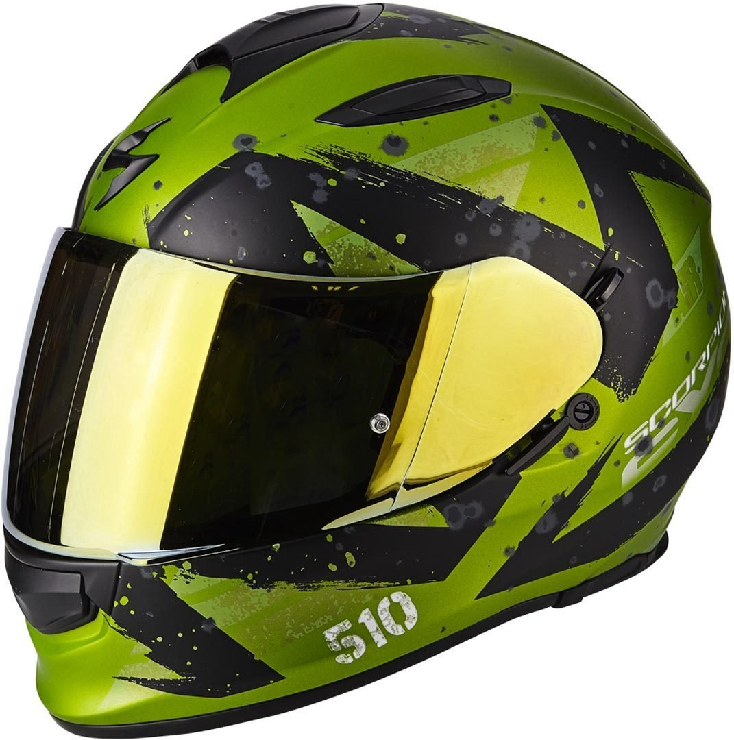 Tama/ño M Scorpion Moto Casco Exo 510/Air Marcus Mat Negro//Amarillo