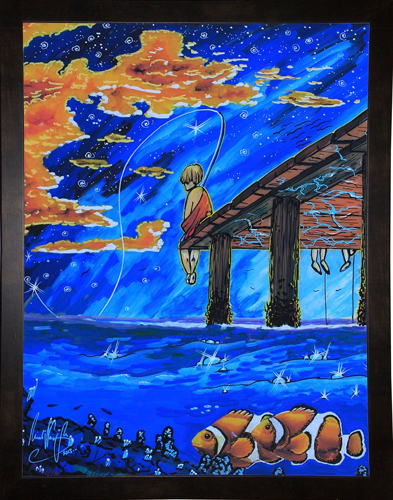 Frame USA Go Fishing Framed 16.25x12.25 by Martin Nasim-MARNAS126183 Print 16.25x12.25 Flat Black Metal