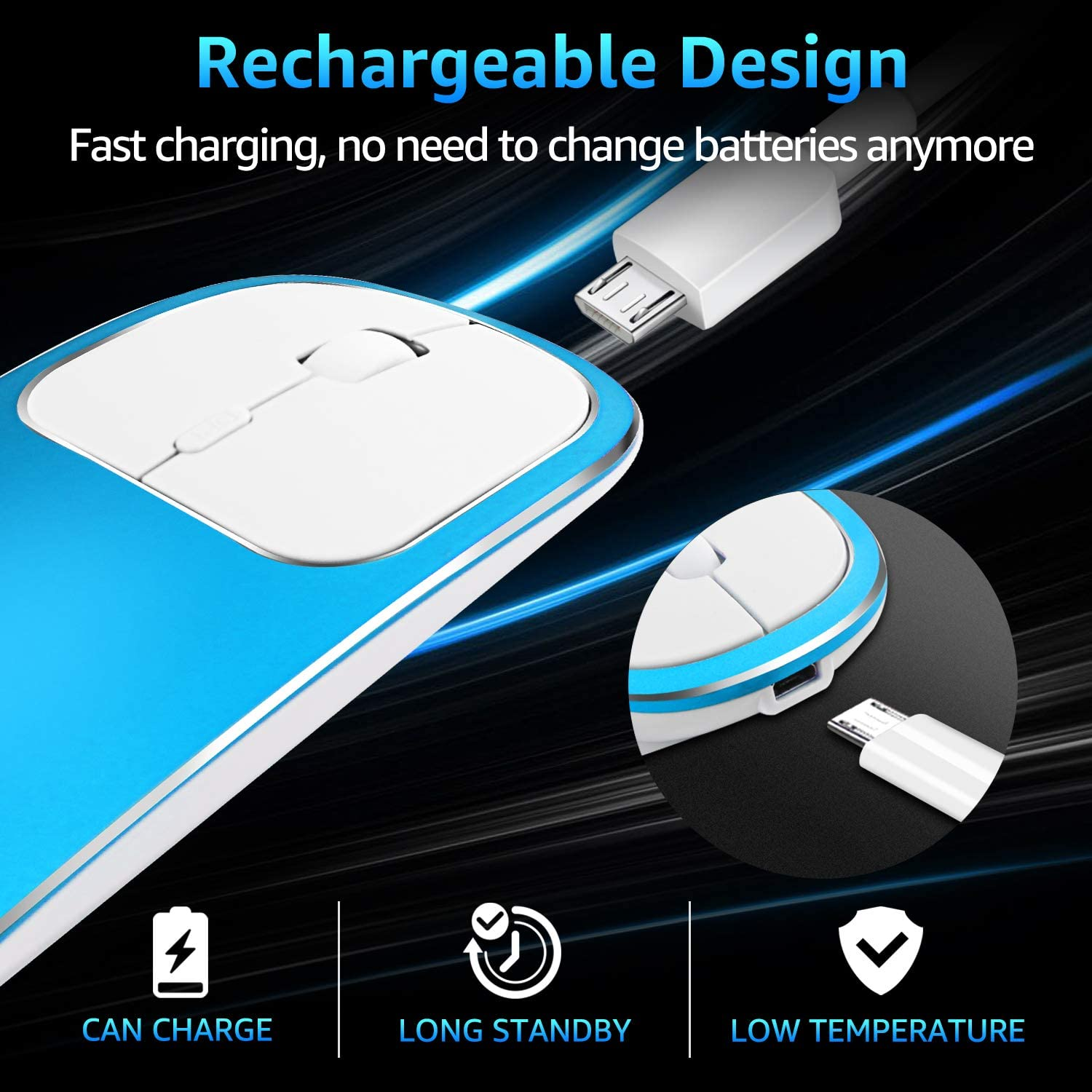 PC Notebook Rechargeable Wireless Mouse,2.4GHz and Bluetooth Metal Noiseless Silent Click Dual Mode Wireless Optical Mice with USB Receiver,Suitable for Mac Blue Laptops,Computer
