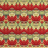Ambesonne Batik Decor Fabric by The Yard, Asian Batik Blooms Motif in Colors Ornate Nature Inspired Boho Floral Boho, Decorative Fabric for Upholstery and Home Accents, Red and Green