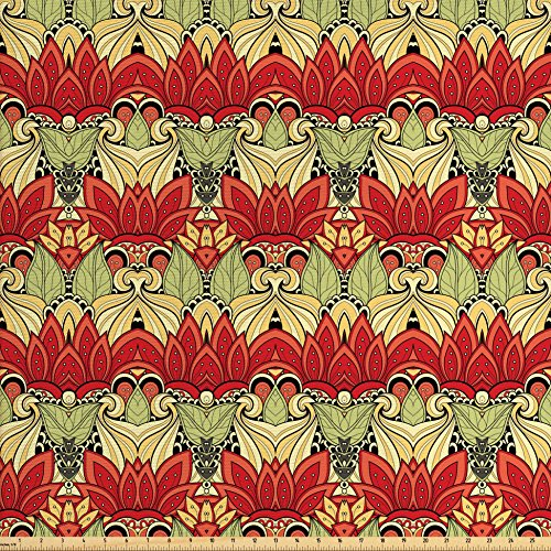 Home Fabric Decor (Ambesonne Batik Decor Fabric by The Yard, Asian Batik Blooms Motif in Colors Ornate Nature Inspired Boho Floral Boho, Decorative Fabric for Upholstery and Home Accents, Red and Green)