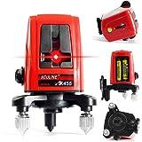 Aculine AK455- Livella laser autolivellante a 3 linee e 3 punti, con tracciatura di linee a croce, rotazione a 360°, colore: rosso