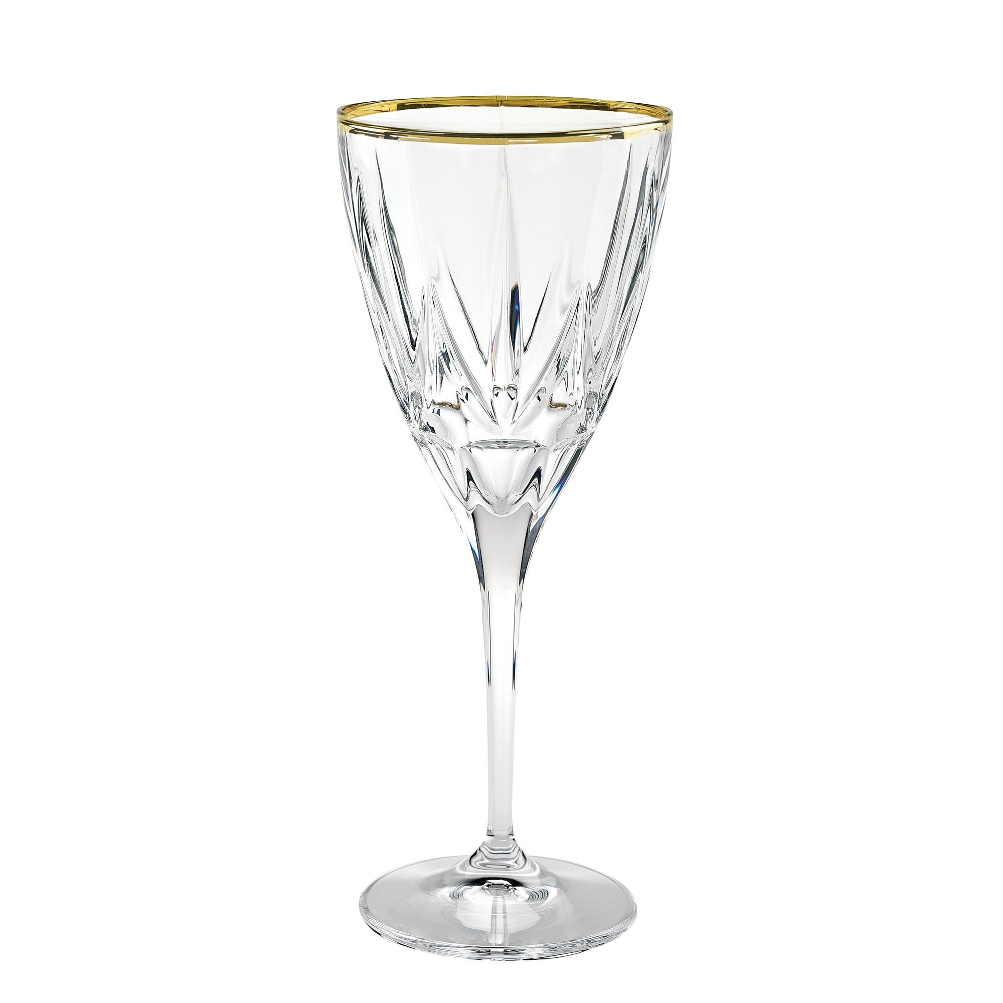 Lorren Home Trends 262310-GD Chic Set of 6 White Wine with 24K Gold Trim Goblets, One Size, Clear