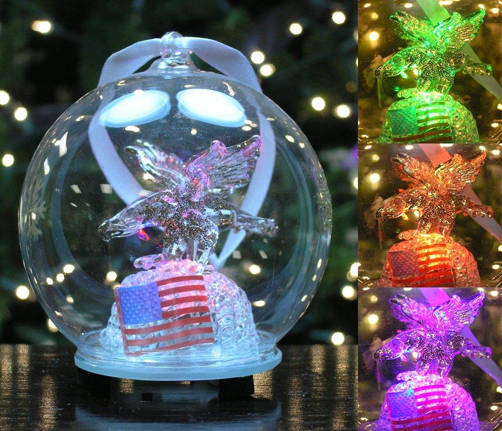 Amazon Led Christmas Ornament Eagle American Flag Color Changing Lights