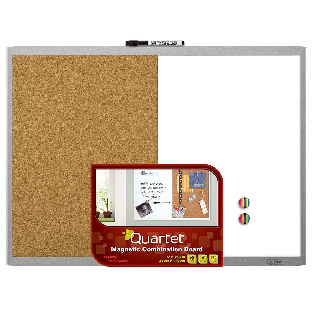 Quartet Magnetic Dry Erase Board & Cork Board, 17 x 23, Whiteboard & Corkboard, Black Frame (21-580653Q-BK) 17 x 23 ACCO Brands