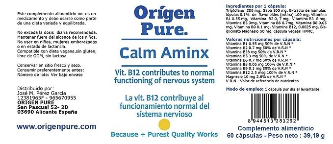 Triptofano con Magnesio Vitamina B6 Gaba y Lúpulo pura Tranquilidad y Paz Natural Fórmula Profesional Calm Aminx ademas B1+B2+B3+B5+B8+B9+B12 Serenidad ...