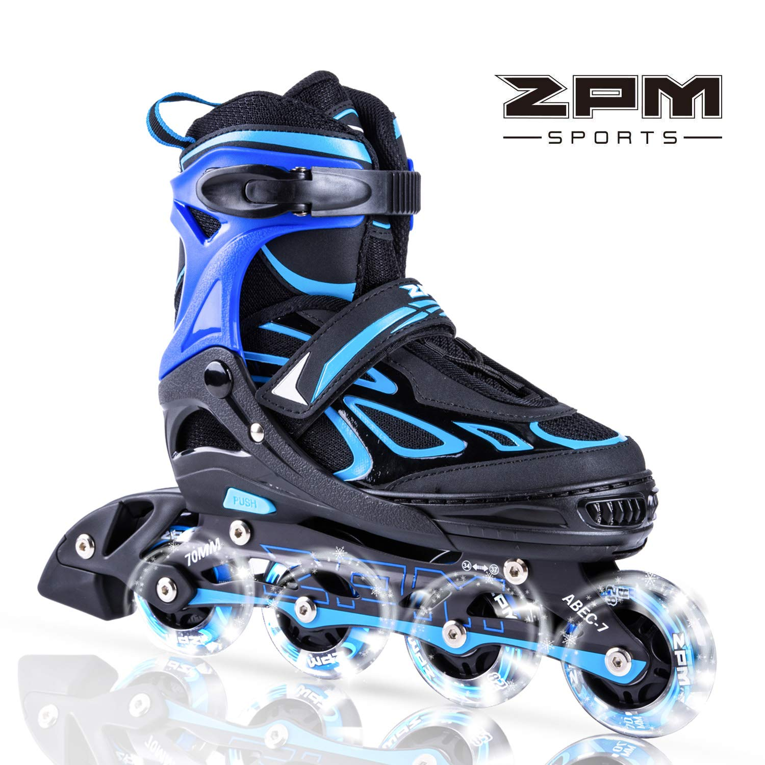 2PM SPORTS Vinal Boys Adjustable Flashing Inline Skates, All Wheels Light Up, Fun Illuminating Skates for Kids and Youths - Azure M