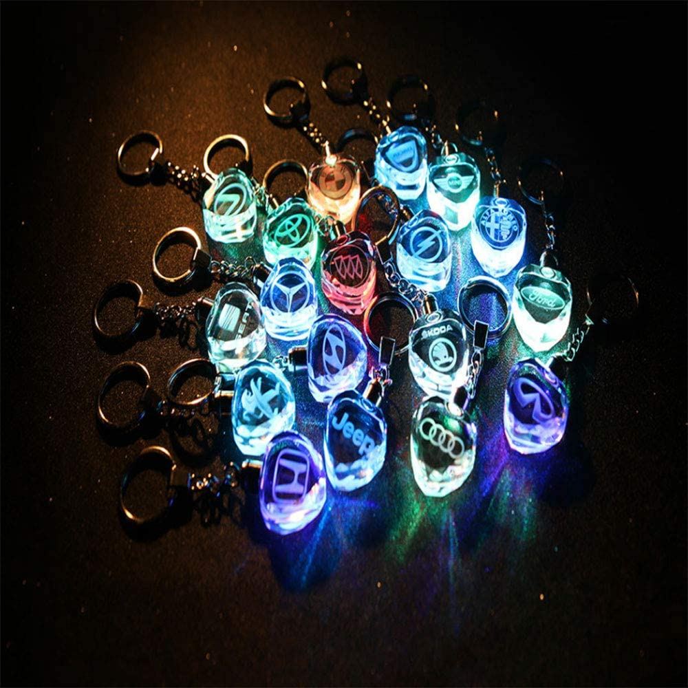 Fitracker Car Logo Heart Shaped LED Keyring Crystal Light 7 Colors Changing Car Key Chain with Gift Box