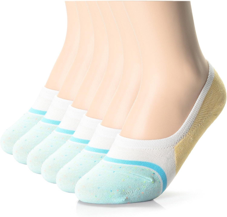 FLATSEVEN Womens Casual Fashion Dress No Show Socks 6 Pack