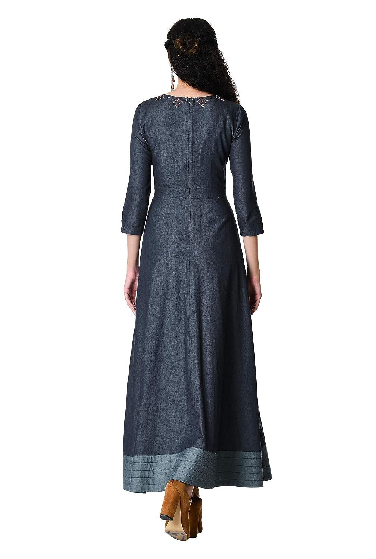 cfcf5cbbfd2 eShakti Women s Embellished Cotton Chambray Maxi Dress at Amazon Women s  Clothing store