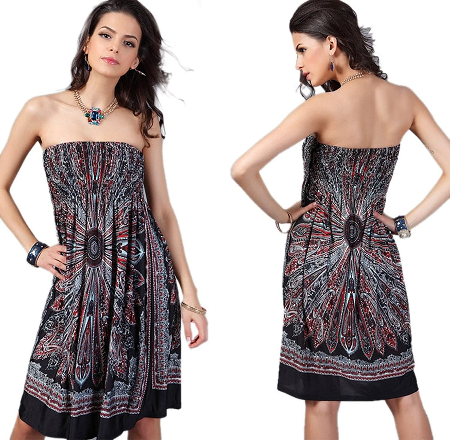 Amazon.com: Usstore Women Vintage Ropa Mujer Print Beach Knee-length Dresses: Clothing