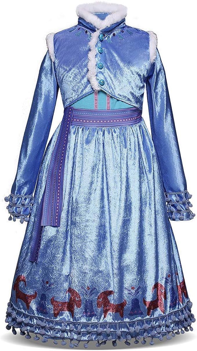WEMEK Niñas Disfraz de Princesa Elsa con Capa Frozen Anna Vestido ...