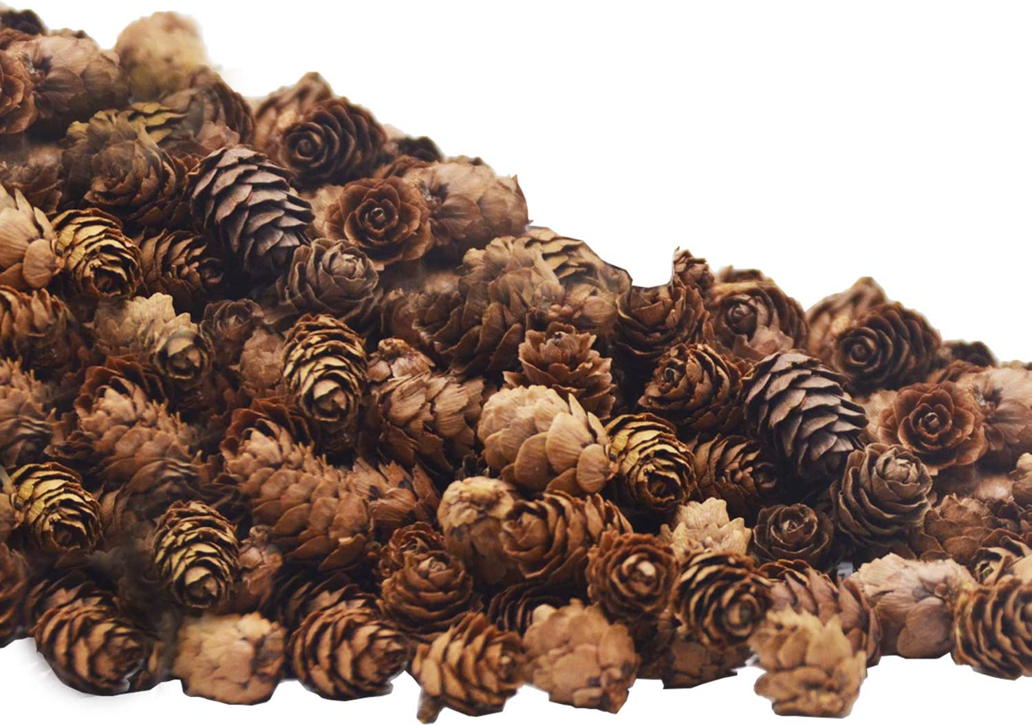Deloky 150 PCS Christmas Natural Mini Pine Cones- 3CM Thanksgiving Pinecones Ornaments Vase Fillers for DIY Crafts, Home Decorations,Fall and Christmas,Wedding Decor