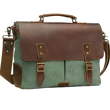 Amazon.com: Wowbox Leather Vintage Messenger Bag for 15.6 inch ...