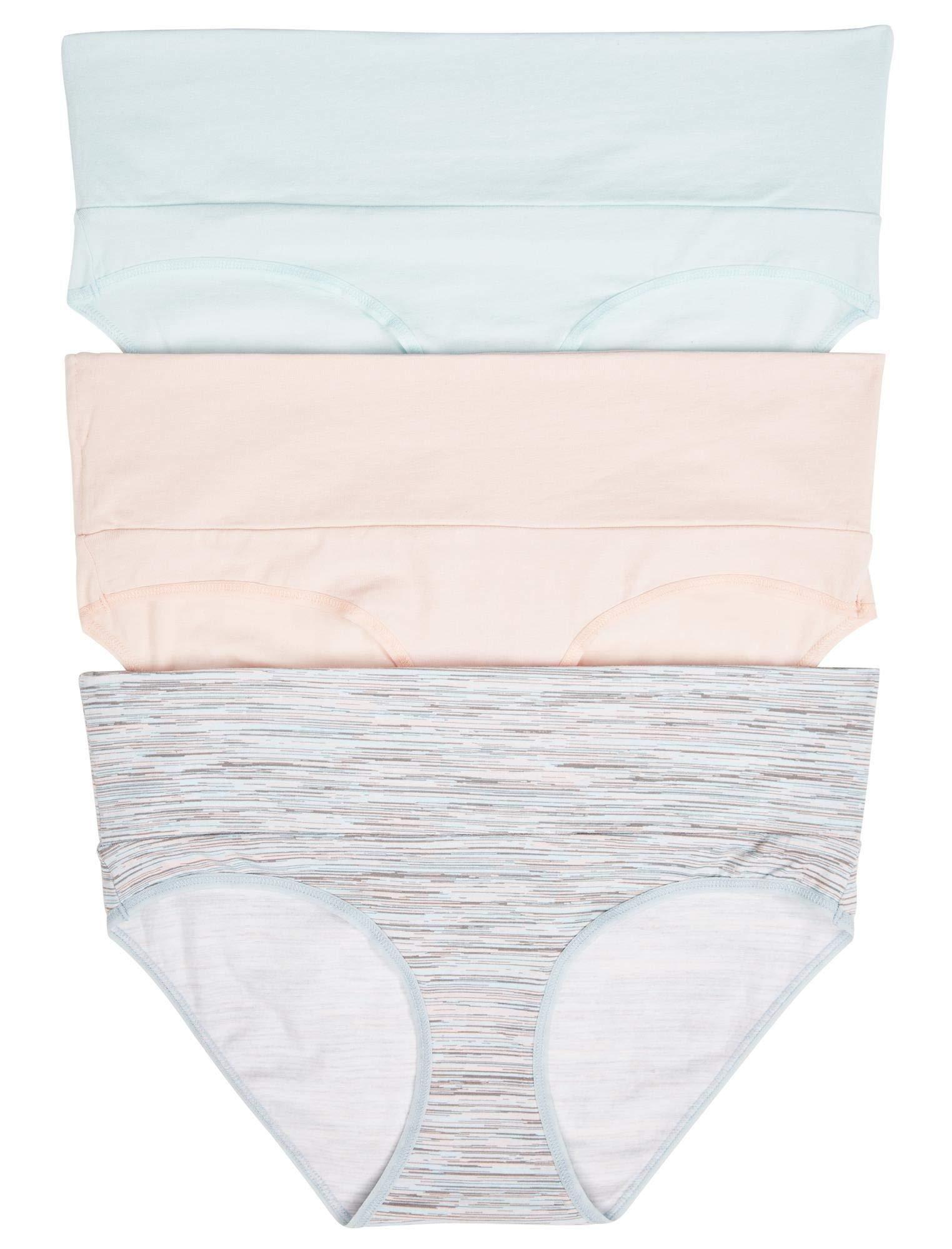 Motherhood Maternity Women's Maternity 3 Pack Fold Over Brief Panties, Aqua, Space Dye, Pink/Multi Pack, Medium