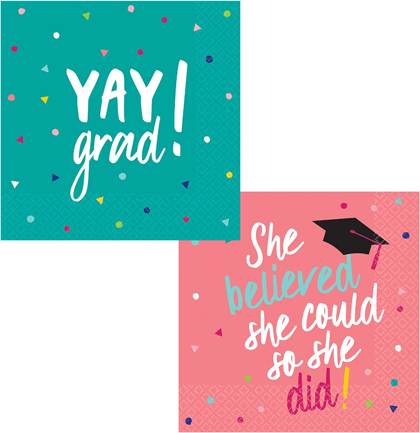 Graduation Themed Cocktail Napkins Variety Pack - Bundle Includes 72 Total Napkins in Yay Grad Design