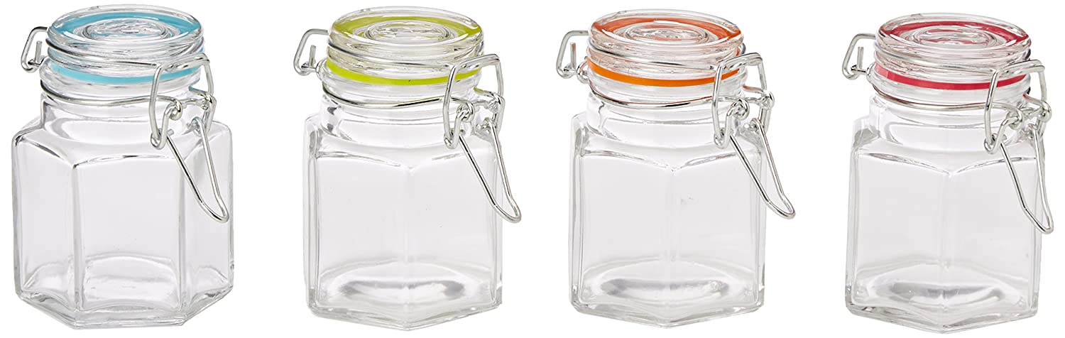 Eddingtons 100 ml Octagonal Clip Top Jars with Coloured Seals (Pack of 12)