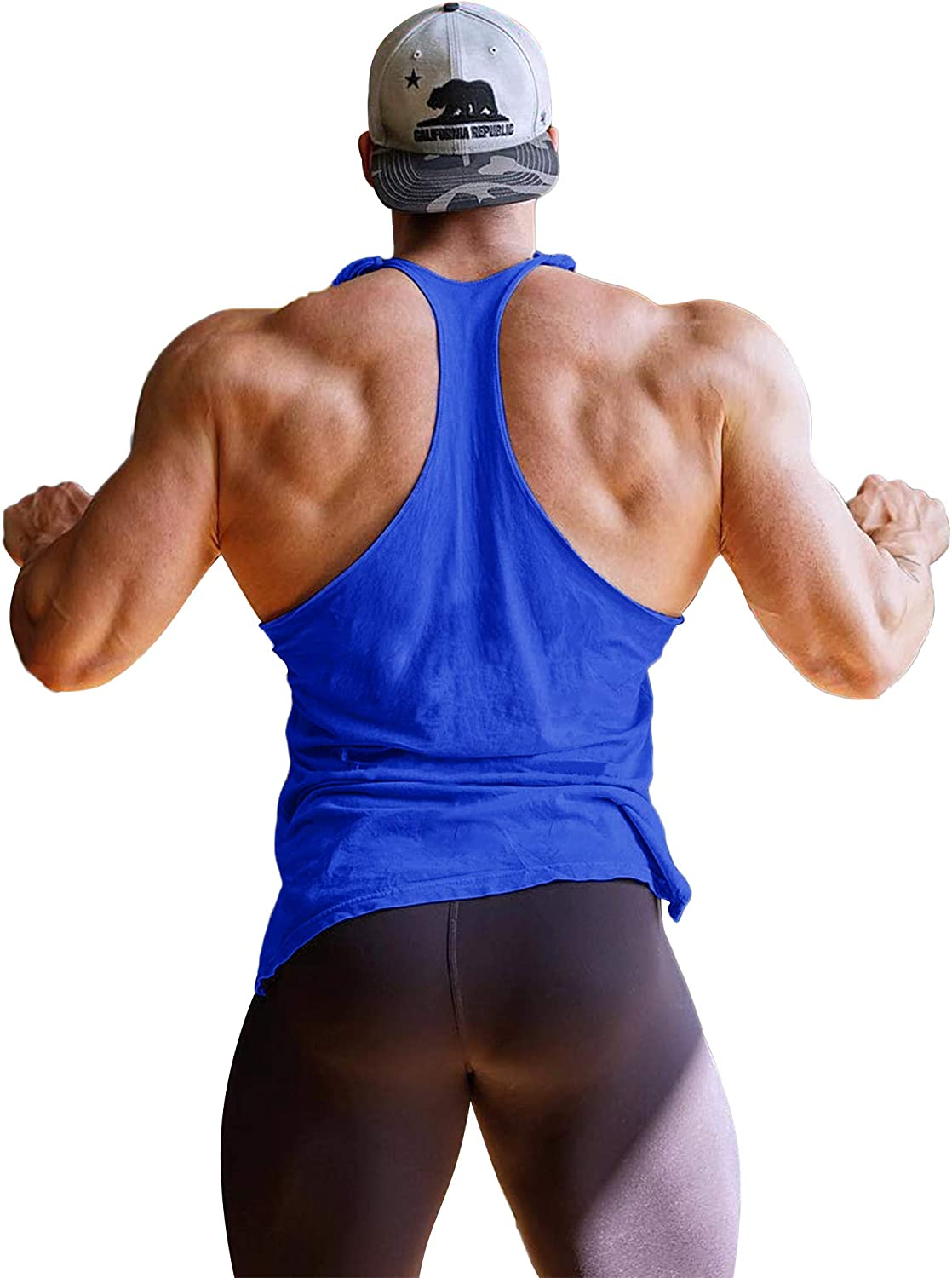 Mens Athletic Y Back Gym Muscle Tank Top Workout Bodybuilding Fitness Racerback Tank Tops