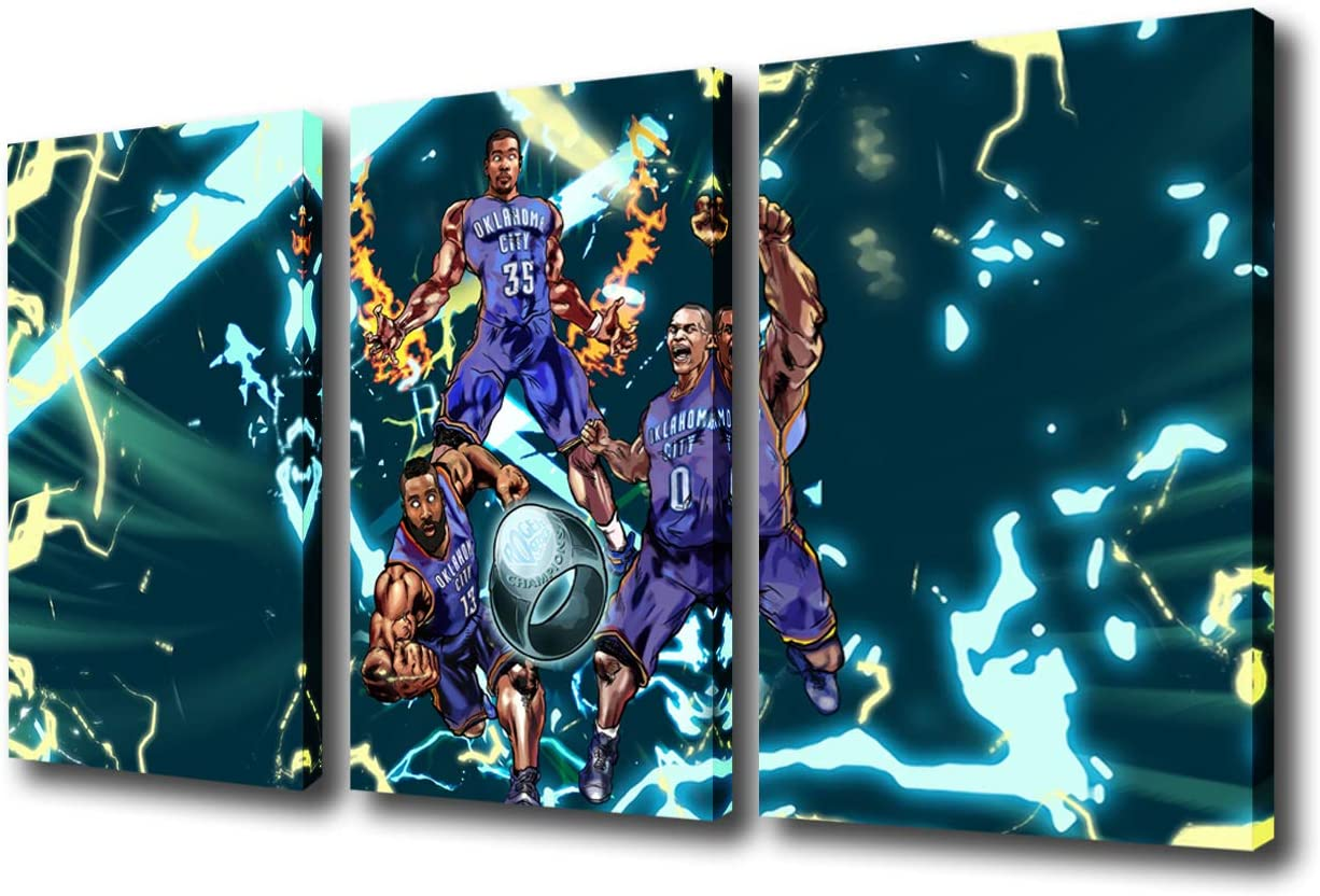 3 Pieces Canvas Paintings of Sports NBA Thunder's Big Three Wall Art Basketball Player Poster Russell Westbrook James Harden and Kevin Durant Pictures for Living Room Framed Ready to Hang(36''Wx24''H)