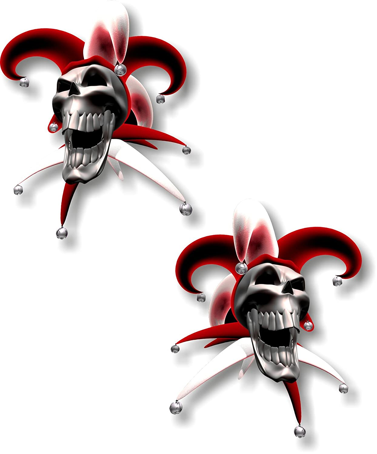 Vinyl sticker/decal Extra small 50mm jester laughing skull red - pair Graphic Effects
