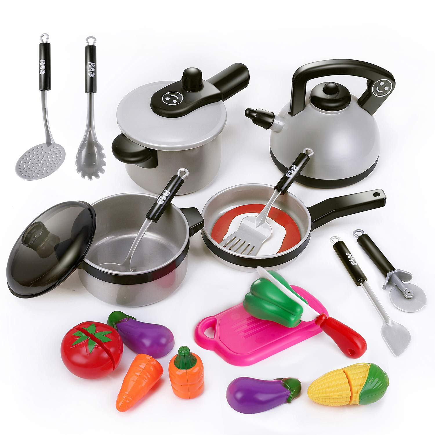 iPlay, iLearn Kids Kitchen Pretend Play Toys, Cooking Set, Pots and Pans, Cookware Playset, Healthy Cutting Vegetables, Knife, Utensils, Learning Gift for 3, 4, 5 Years Old Baby, Girls, Boys, Toddlers by iPlay, iLearn
