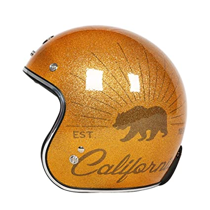 Amazon.es: Retro Motocicleta Casco Hombres 3/4 Open Face Jet Moto ...