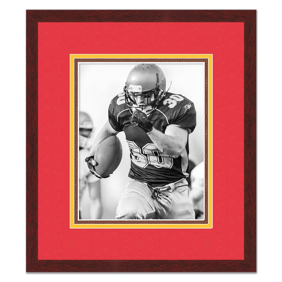 Kansas City Chiefs Black Wood Frame for a 5x7 Photo with a Triple Mat Red Gold and Football Textured Mats