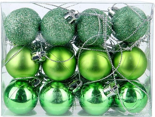 DomoWin Bolas de Navidad, Bolas para árbol de Navidad Decoración de Bolas de Navidad Inastillable Decoración del Árbol De Navidad Set de 24 Bolas (Verde, 3 cm Ø): Amazon.es: Hogar