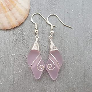 "product image for Handmade in Hawaii, wire wrapped""October Birthstone Color"" pink wave sea glass earrings, (Hawaii Gift Wrapped, Customizable Gift Message)"
