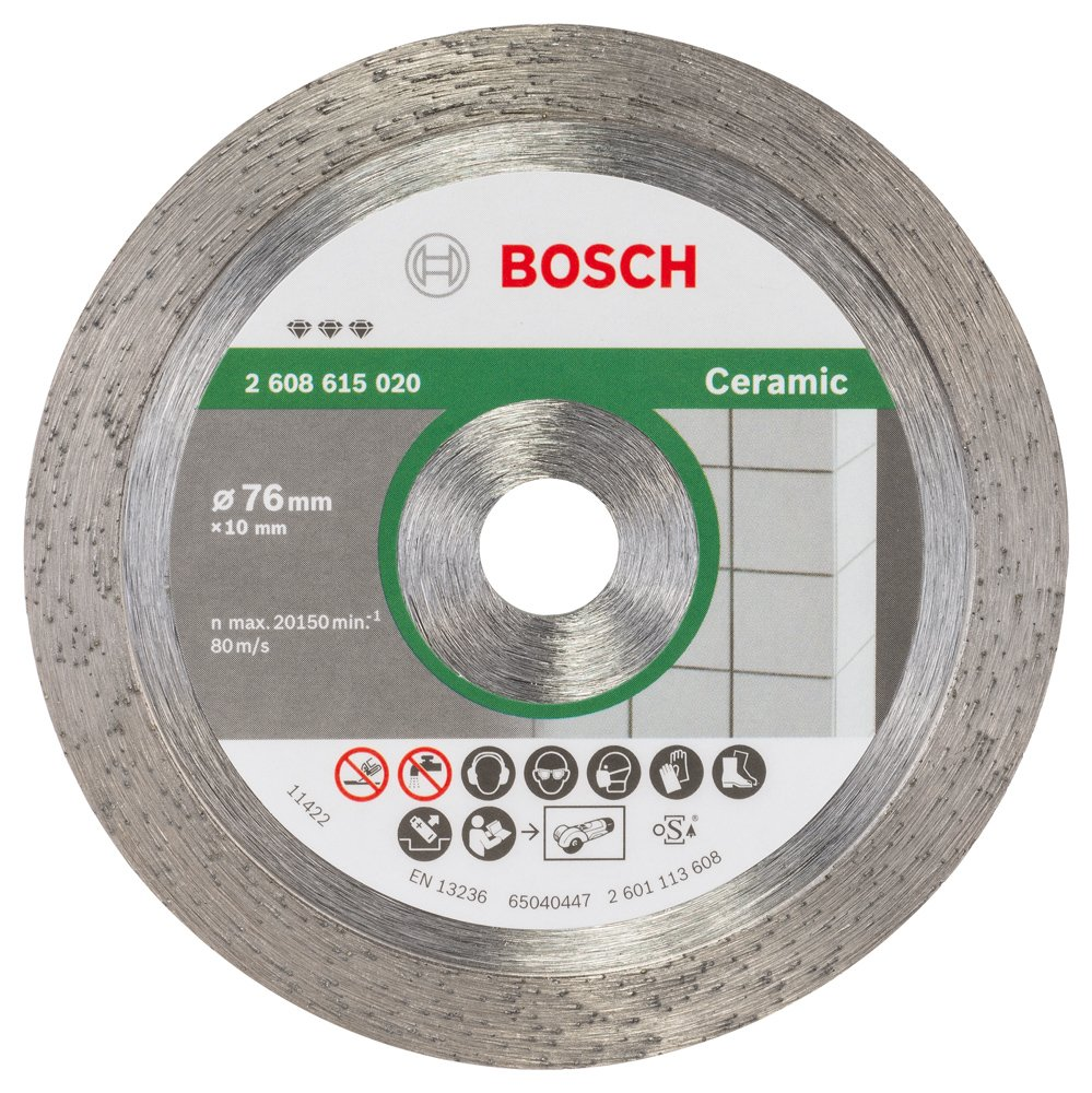 Bosch 2608615020 Diamond Cutting Disc for Ceramic, 0 V, Silver/Grey, 76 x 10 x 1.9 mm