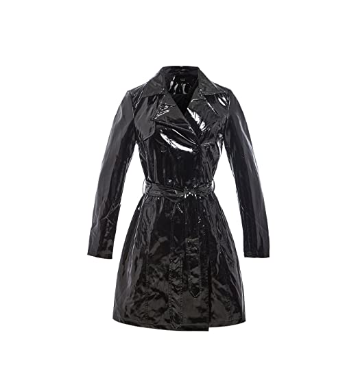 fashion style of 2019 sale online special discount SS7 Womens Patent Trench Coat MAC Raincoat Ladies New Size 8 10 12 14 16  Black