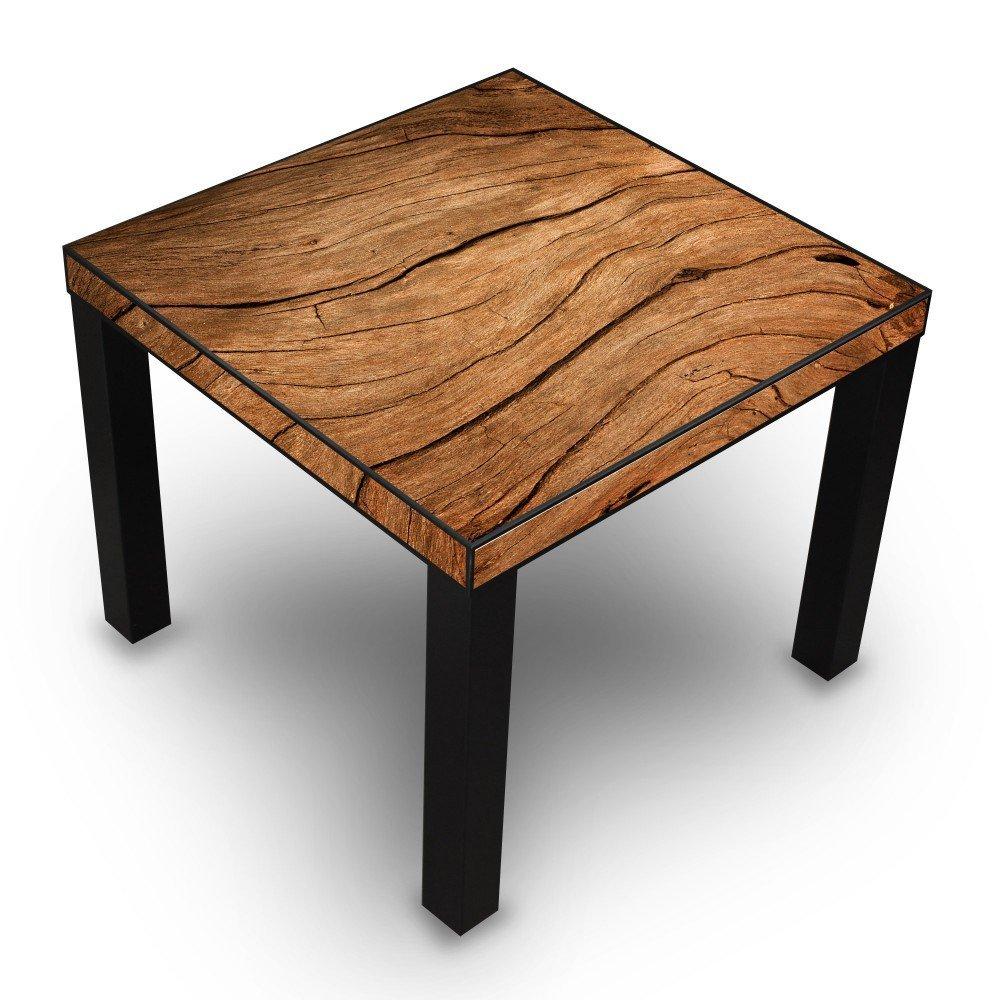 banjado - Design Wohnzimmer Tisch 55x45x55cm Beistelltisch Schwarz mit Motiv Trockenes Holz