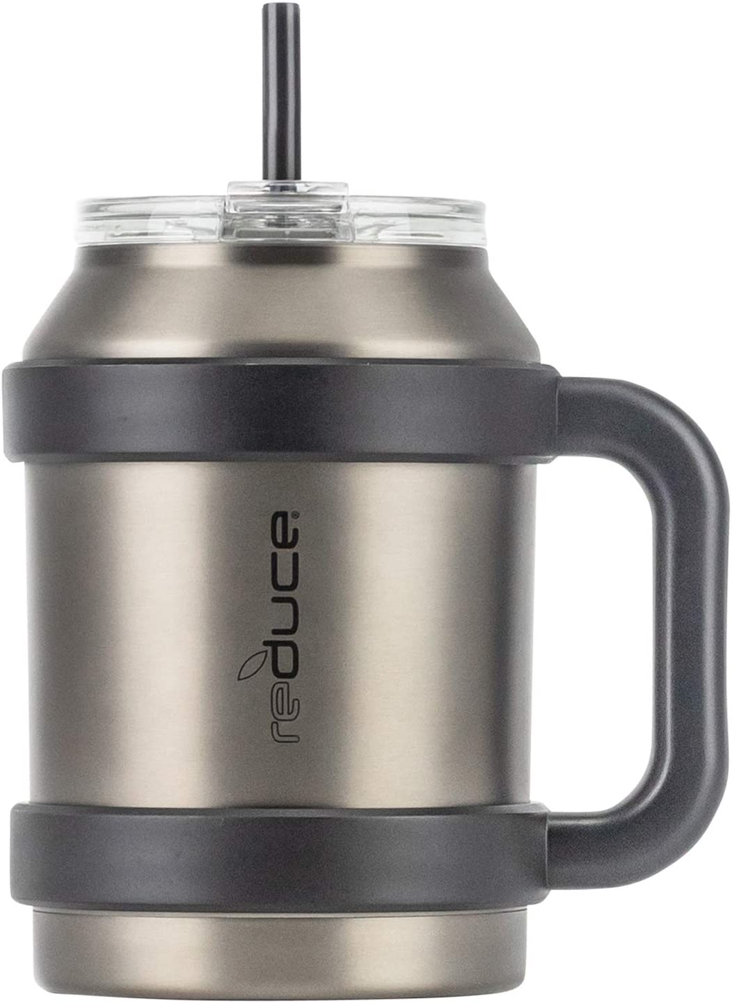 Amazon Com Reduce Tumbler 50 Oz Stainless Steel Insulated Large Mug With Straw Lid And Handle 36 Hours Cold For Cold And Hot Drinks Sweat Proof Body Dishwasher Safe Charcoal Kitchen Dining