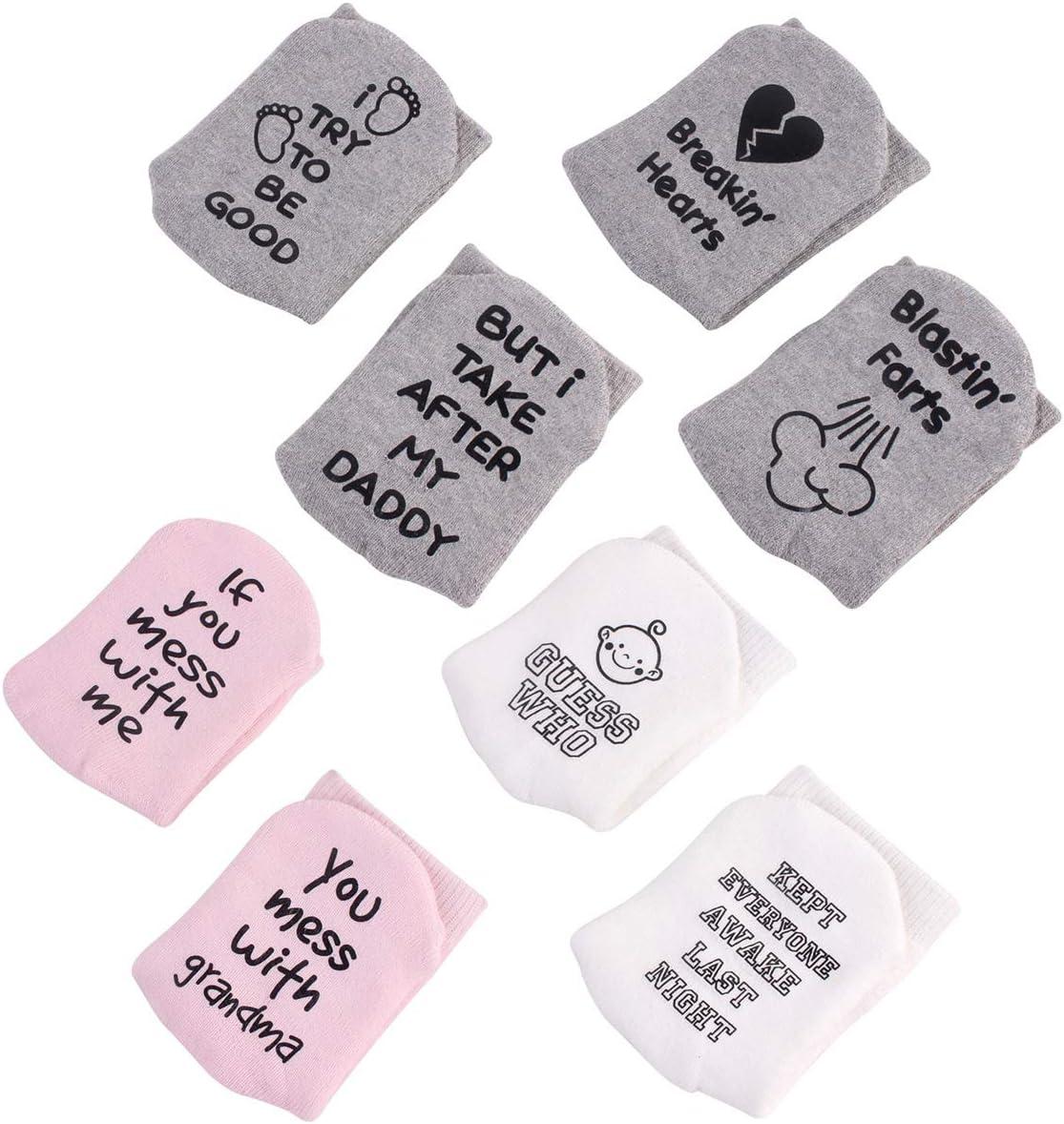 Owlike 4 Pairs Anti-Skid Cute Baby Socks Gift Set,Ankle Socks for Unisex Boy Girl Infant Newborn 0-12 Months