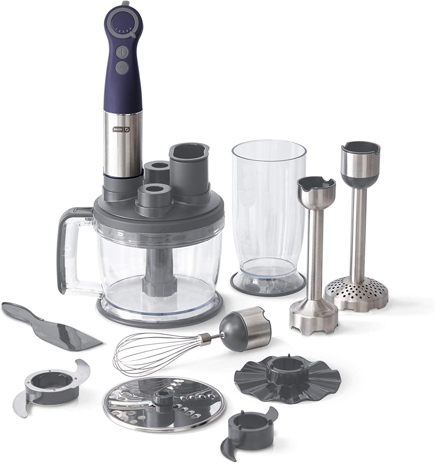 Dash Chef Series Deluxe Immersion Hand Blender, 5 Speed Stick Blender with Stainless Steel Blades, Dough Hooks, Food Processor, Grate, Mash, Slice, Whisk Attachments and Recipe Guide – Midnight