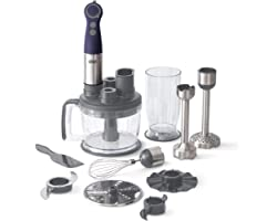 Dash Chef Series Deluxe Immersion Hand Blender, 5 Speed Stick Blender with Stainless Steel Blades, Dough Hooks, Food Processo