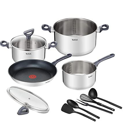 Tefal Daily Cook - Set de sartenes y cazos, acero inoxidable, set 4 (