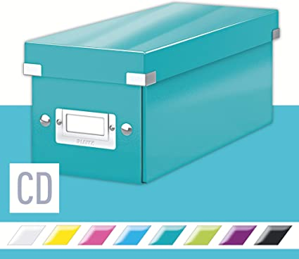 LEITZ 60410051 - Caja CD Box (143x147x352 mm) color turquesa: Amazon.es: Oficina y papelería
