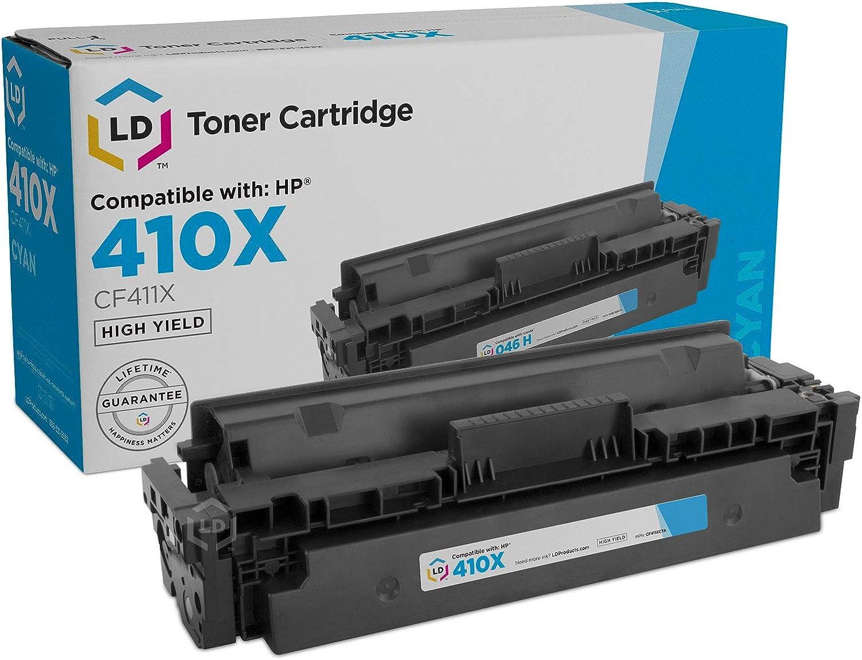 LD Compatible Toner Cartridge Replacement for HP 410X CF411X High Yield (Cyan)