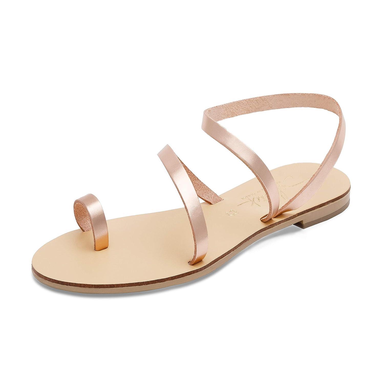 Schmick Sandales Hekate : 19999 Chaussures d'été grecques en pour Femme Rose Plates en Cuir bohèmes Chics Faites à la Main Or Rose/ Naturel 3274dfb - robotanarchy.space
